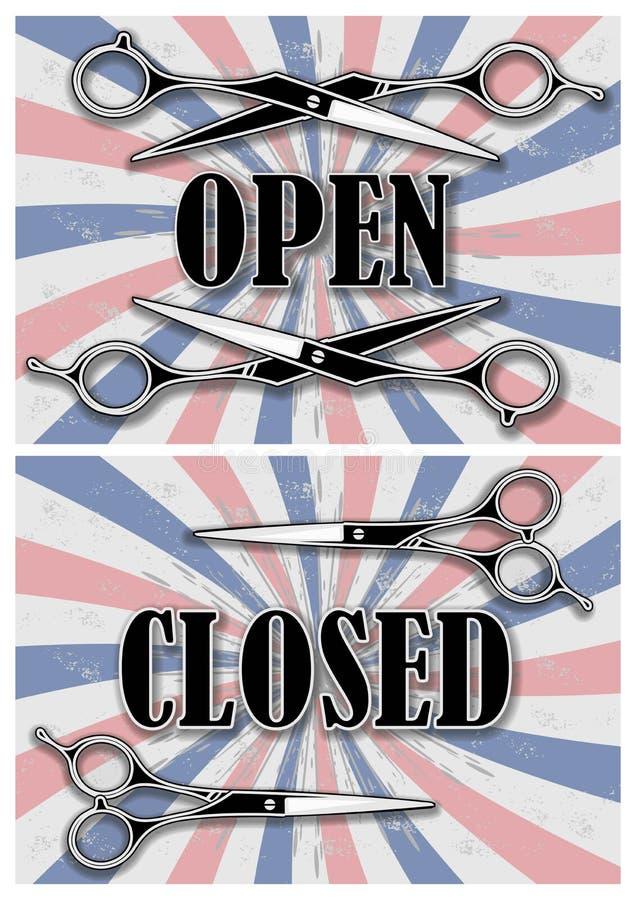 理发店的开放和闭合的标志有剪刀的 库存例证