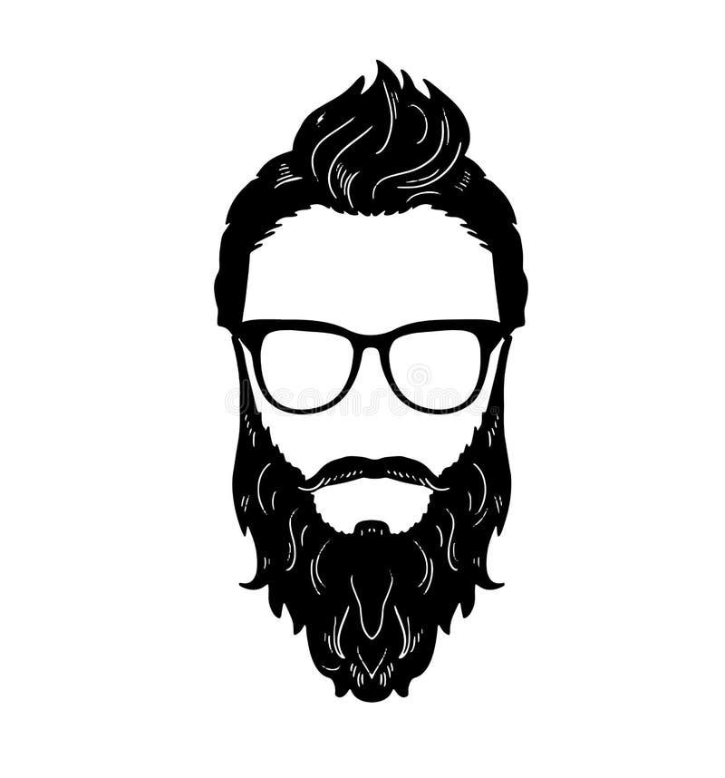 理发店行家胡子髭玻璃发型传染媒介图象 库存例证