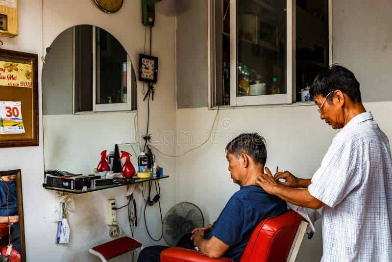 理发店,西贡,在越南南部 库存照片