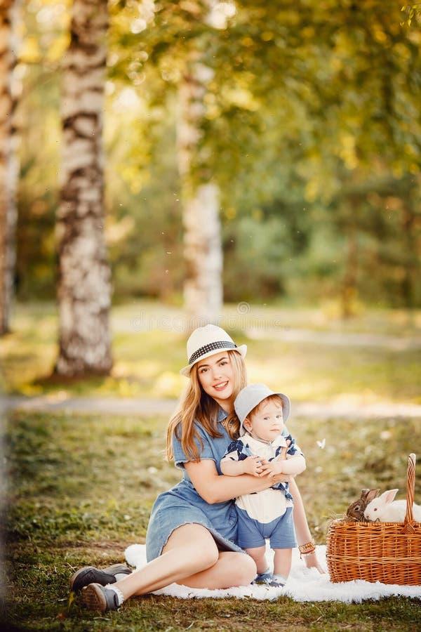 理想的家庭:母亲和婴孩 库存图片