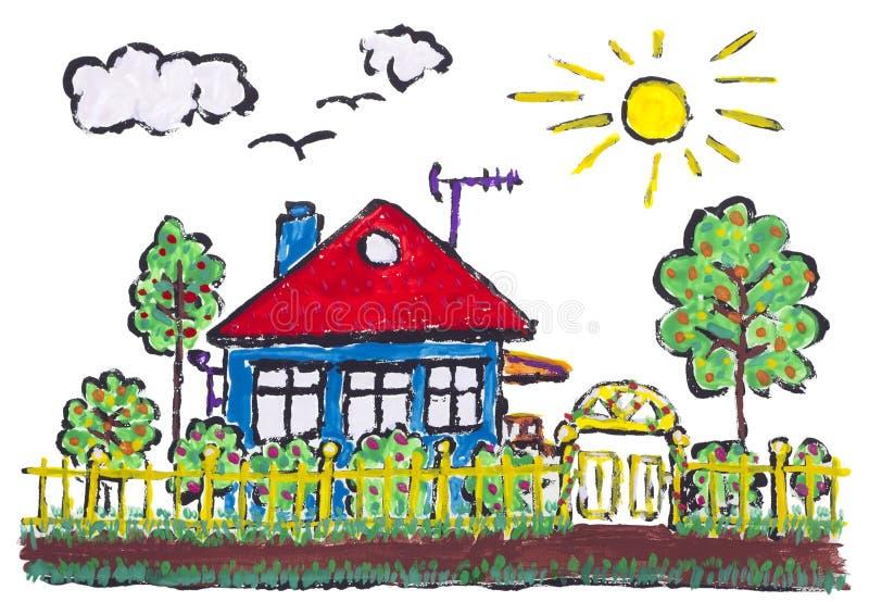 理想的被绘的村庄 向量例证