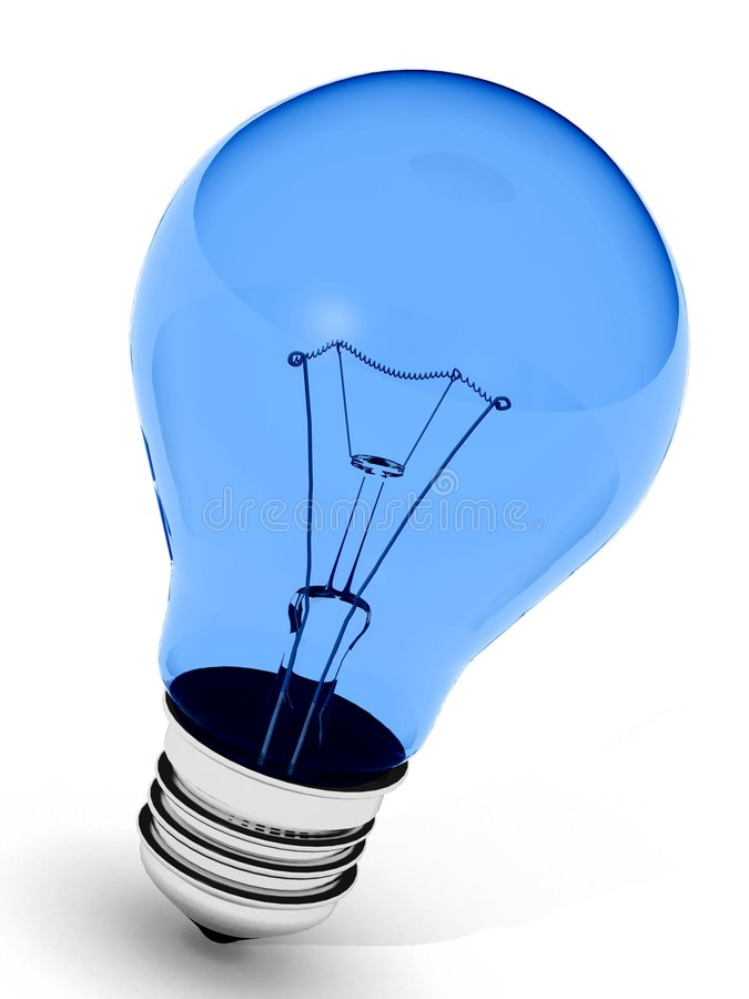理想蓝色电灯泡的光 向量例证