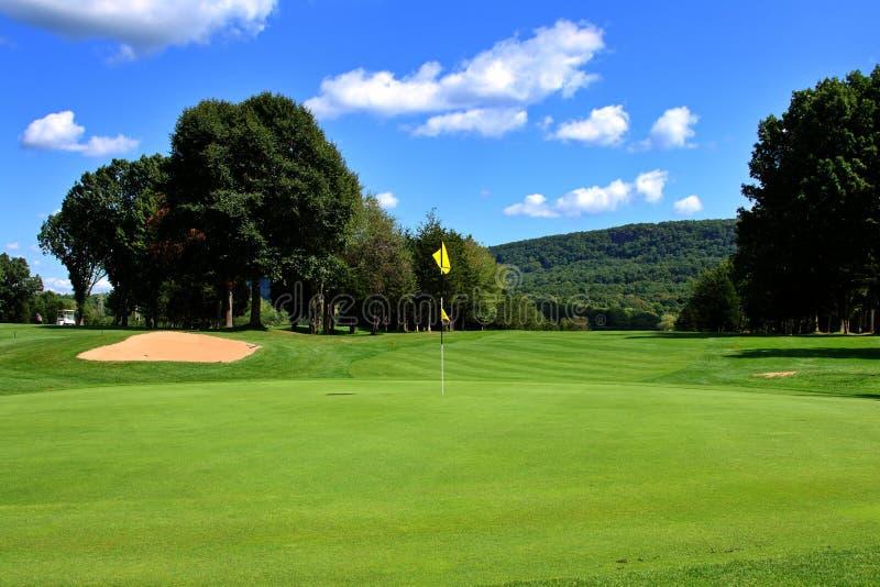 理想路线的高尔夫球 库存图片