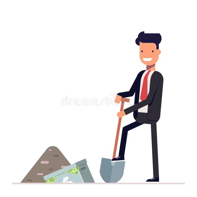经理或商人充分开掘公文包金钱 到达天空的企业概念金黄回归键所有权 在白色的办公室工作者字符 向量例证