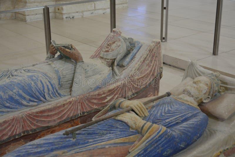 理查坟茔阿基旃的Lionheart &埃莉诺皇家修道院的Fontevraud 库存照片