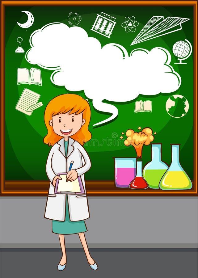 理科教员教学在学校 库存例证