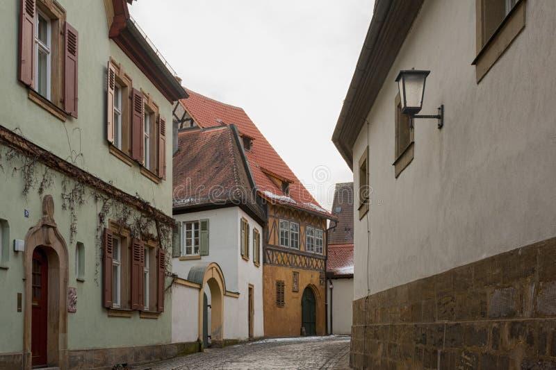 琥珀历史的老镇有巴洛克式的建筑学和偶象木头被构筑的房子的-德国 免版税图库摄影