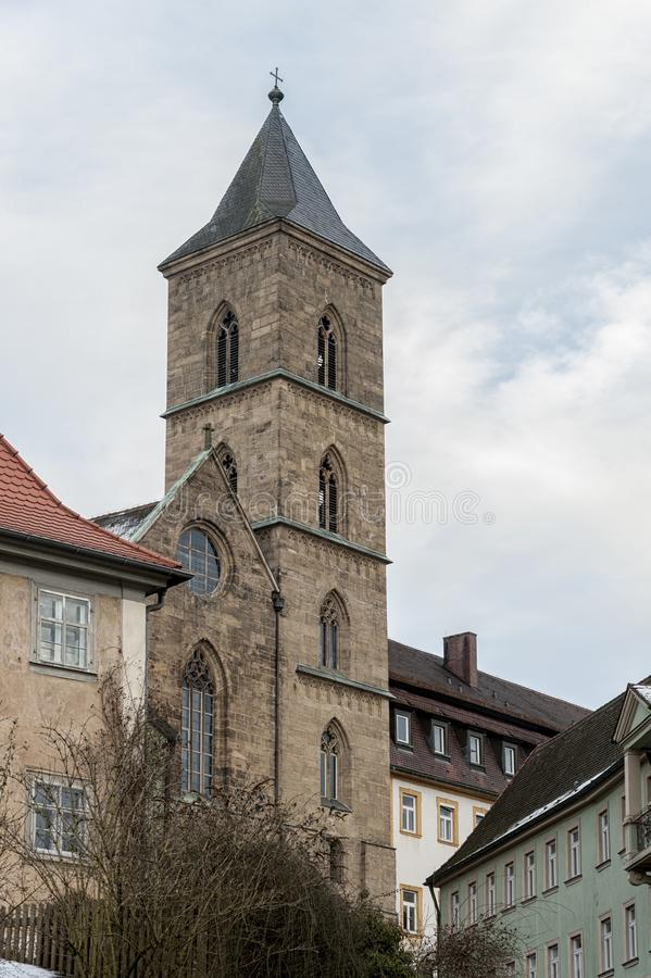 琥珀历史的老镇有巴洛克式的建筑学和偶象木头被构筑的房子的-德国 免版税库存图片