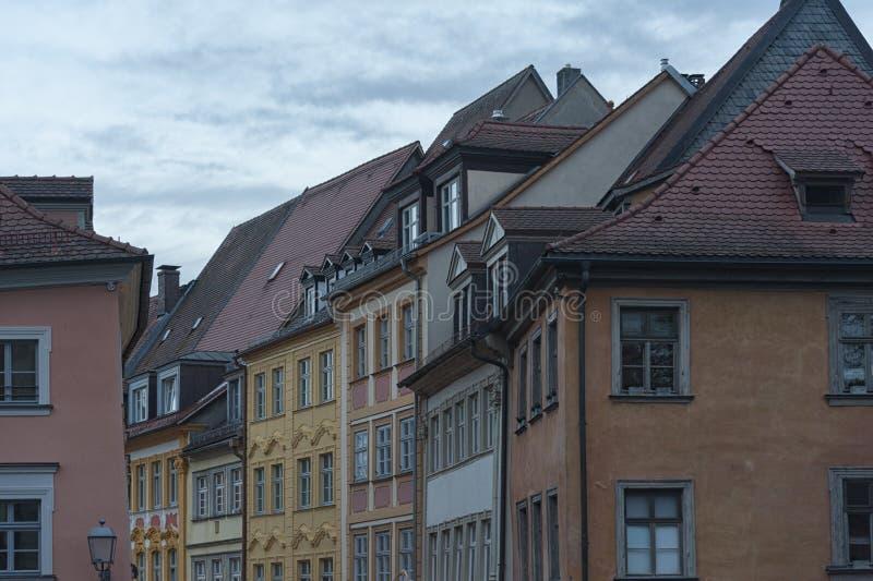 琥珀历史的老镇有巴洛克式的建筑学和偶象木头被构筑的房子的-德国 图库摄影