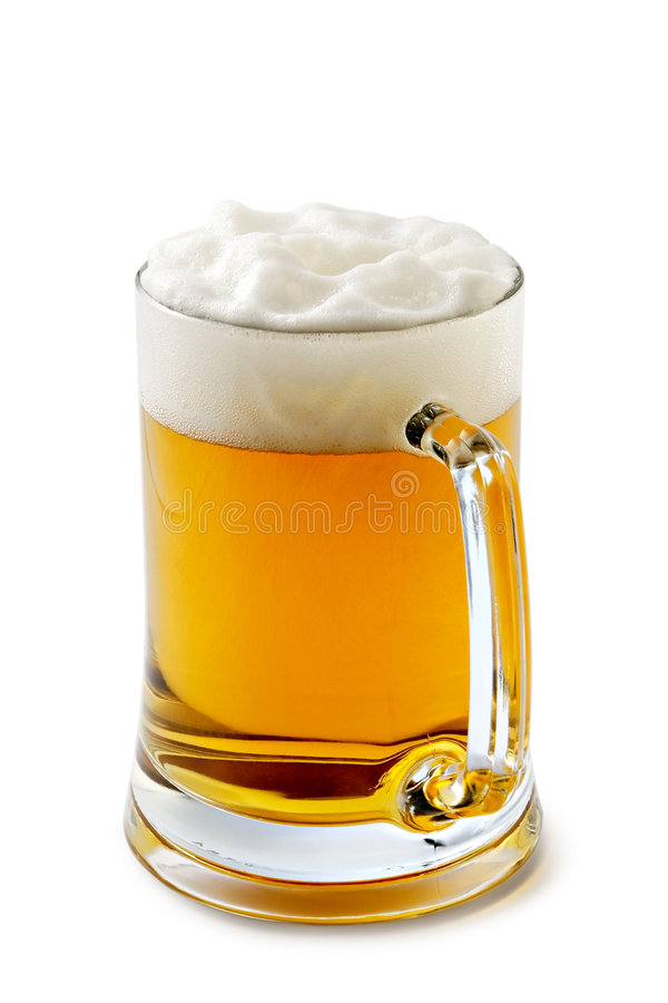 琥珀色的啤酒令人愉快的杯子 免版税库存图片