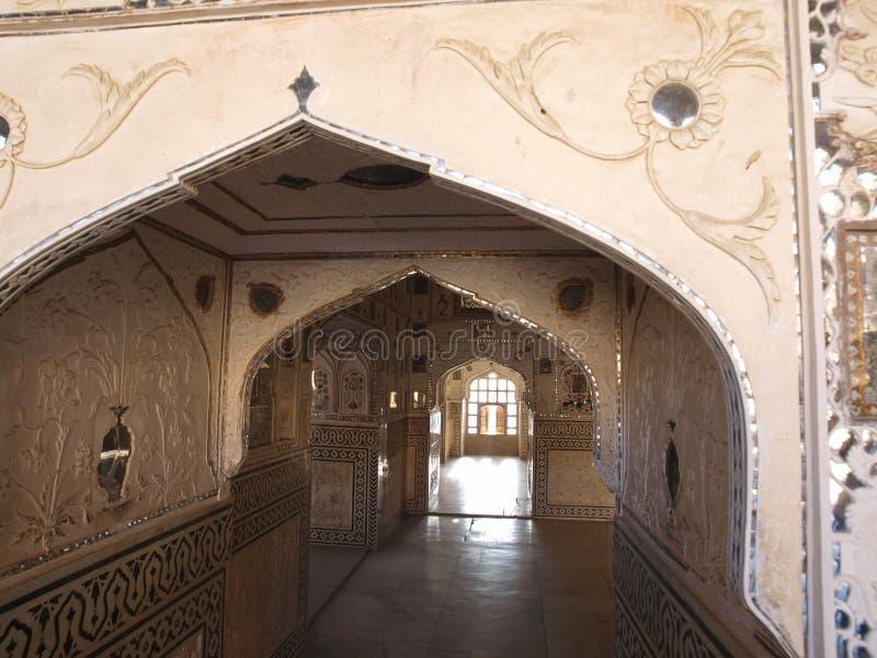 琥珀色的堡垒印度斋浦尔mahal sheesh 免版税库存照片