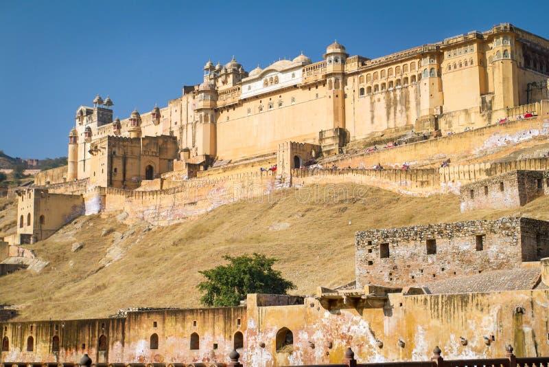 琥珀色的堡垒的宫殿在斋浦尔,印度附近的 库存照片