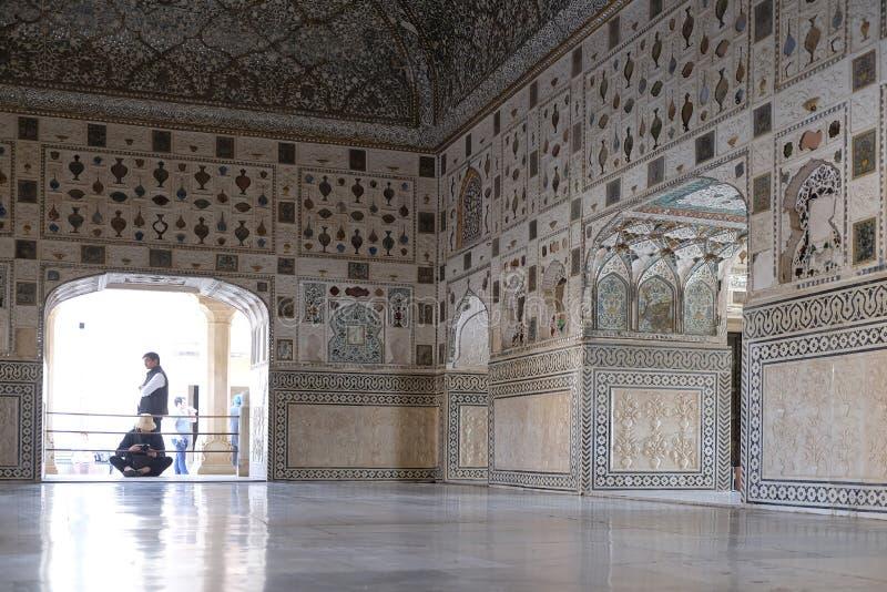琥珀色的堡垒的镜子宫殿在斋浦尔 库存照片