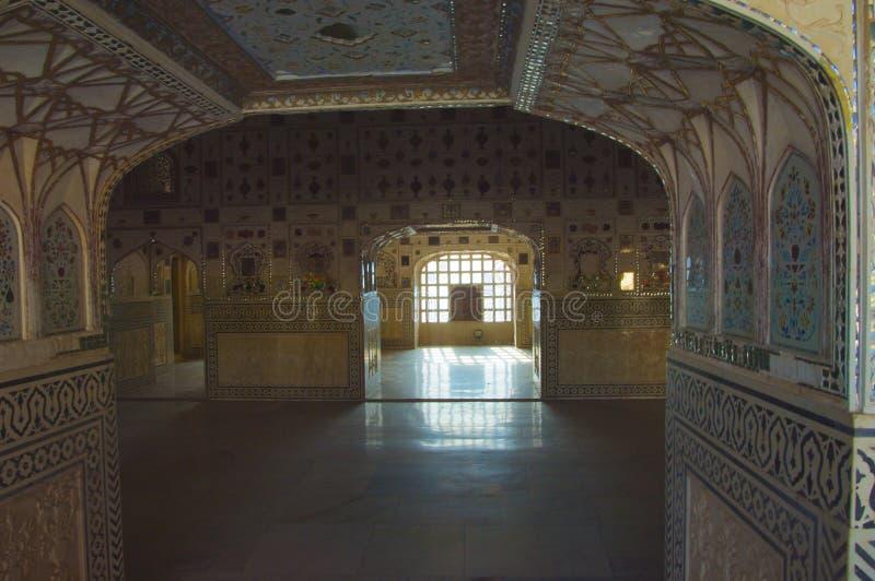 琥珀色的堡垒镜子宫殿 免版税图库摄影