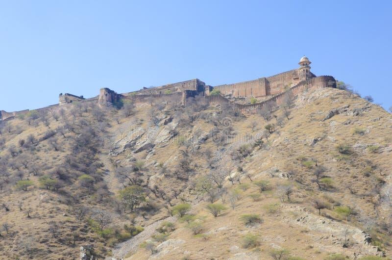 琥珀色的堡垒防御墙壁,斋浦尔,印度 库存照片