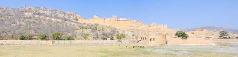 琥珀色的堡垒,斋浦尔,印度全景  库存照片