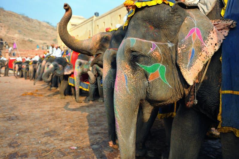 琥珀色的大象堡垒 免版税库存照片