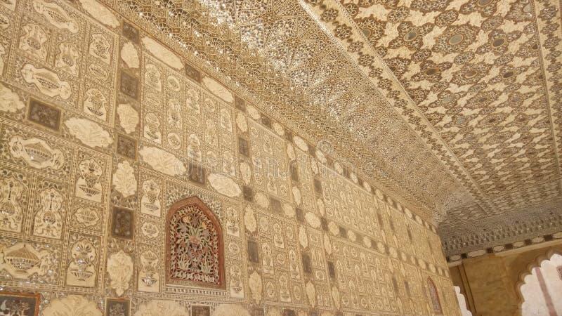 琥珀色的宫殿斋浦尔印度内部  免版税库存图片