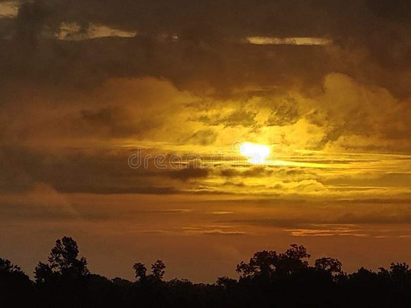 琥珀色的日落 免版税库存照片