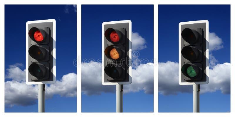 琥珀色的绿灯红色顺序业务量 库存照片