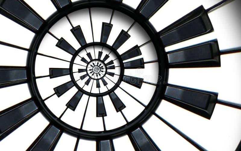 琴键打印了音乐抽象分数维圈子样式背景 黑白钢琴圆的钥匙 螺旋钢琴螺线pa 免版税库存图片