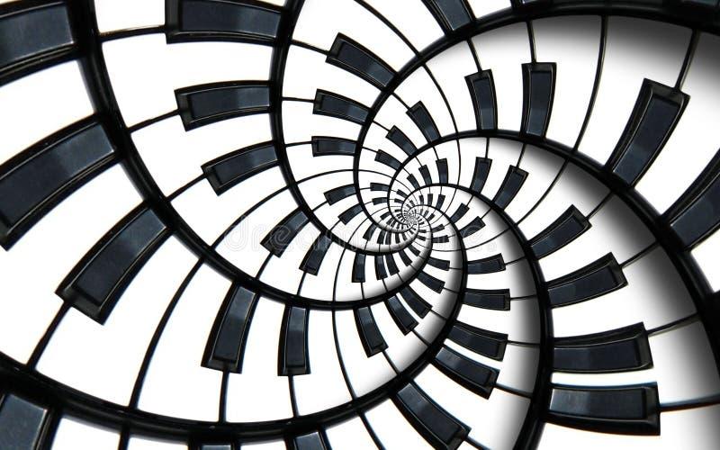 琴键打印了音乐抽象分数维螺旋样式背景 黑白钢琴圆的螺旋 螺旋台阶作用 皇族释放例证