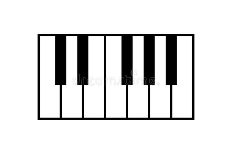 琴键象,隔绝在白色背景,传染媒介例证 库存例证