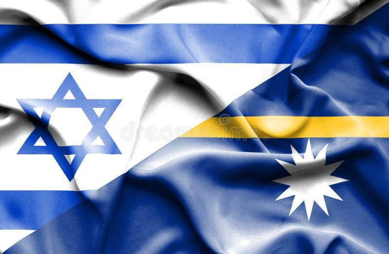 瑙鲁和以色列的挥动的旗子 向量例证
