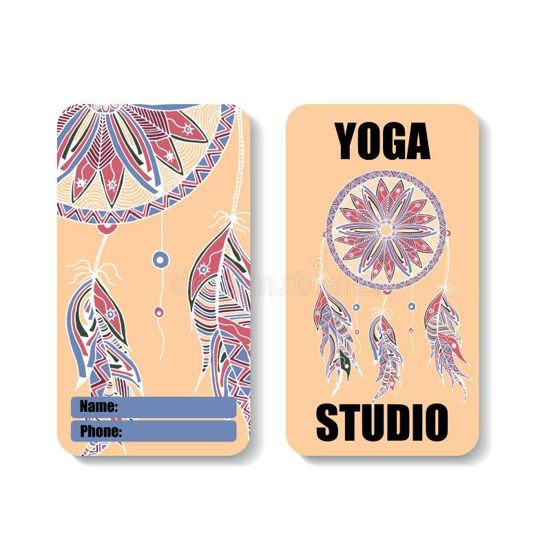 瑜伽与Dreamcatcher的图象的演播室横幅 库存例证