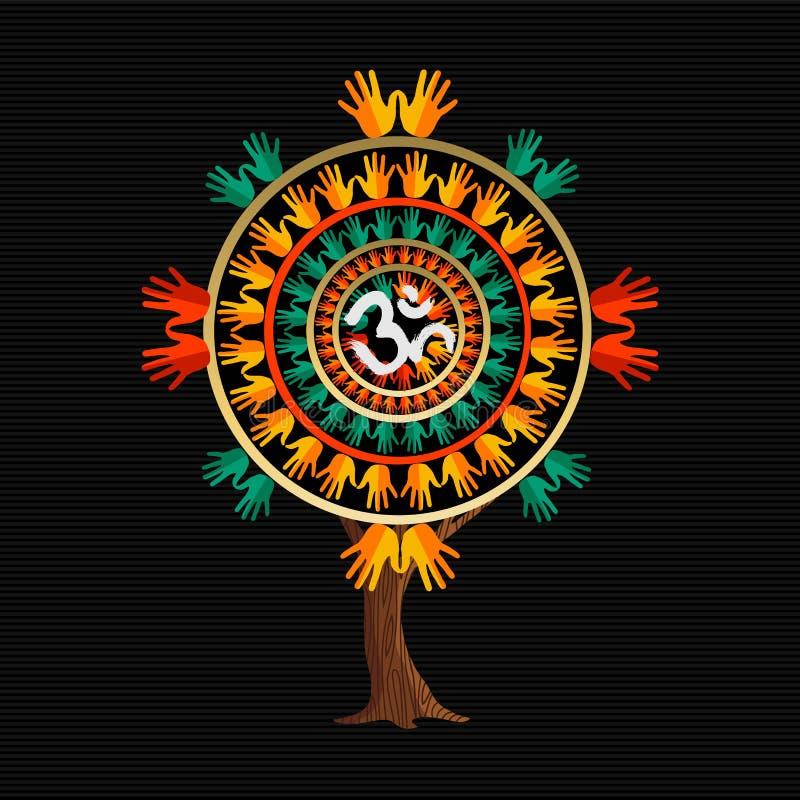 瑜伽与om书法标志的树概念. 和平, 和谐.