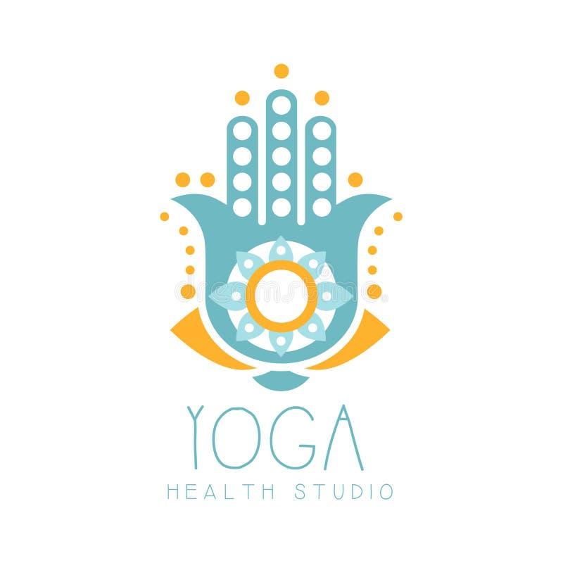 瑜伽健康演播室商标标志 健康和秀丽关心徽章,温泉,瑜伽中心标签 皇族释放例证