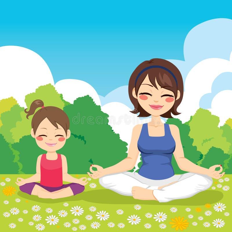 瑜伽公园母亲女儿 向量例证