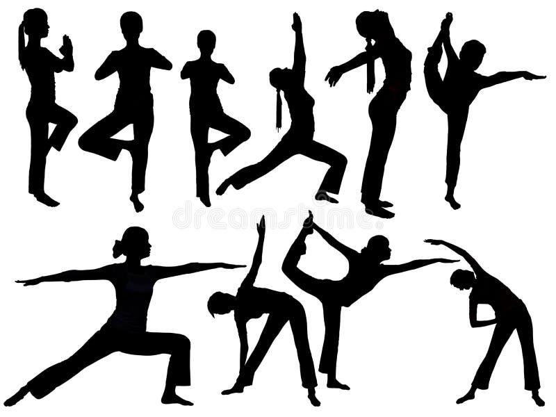 瑜伽剪影 向量例证
