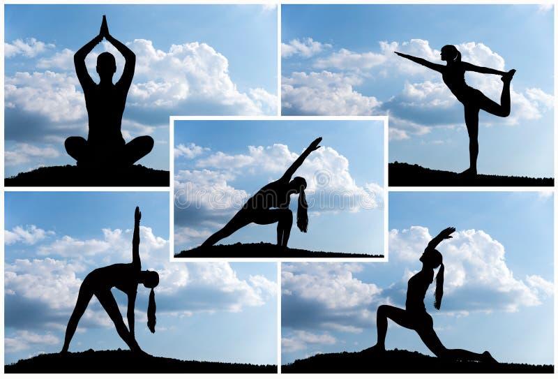 瑜伽剪影 库存图片