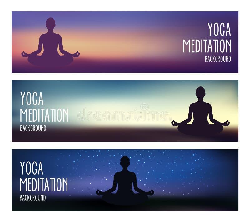 瑜伽和凝思横幅 库存例证