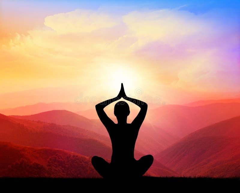 瑜伽和凝思 图库摄影