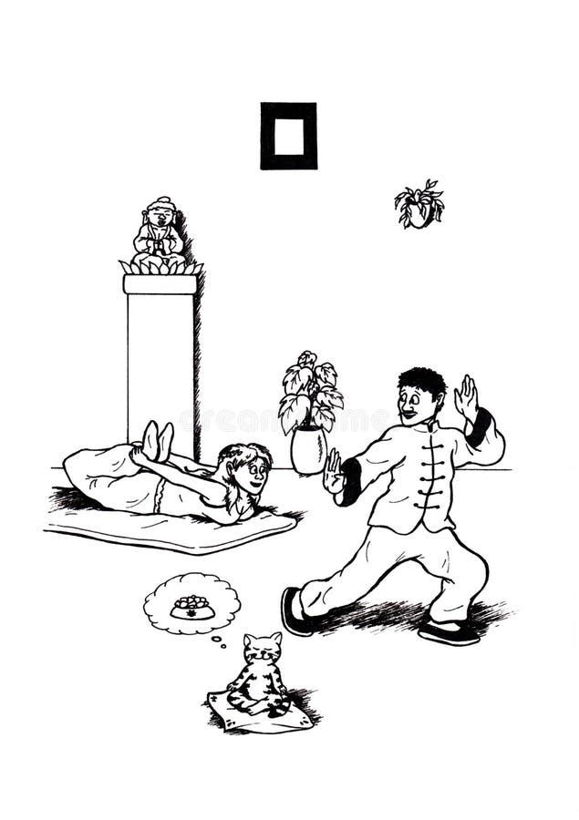 瑜伽和太极拳(2008) 库存例证