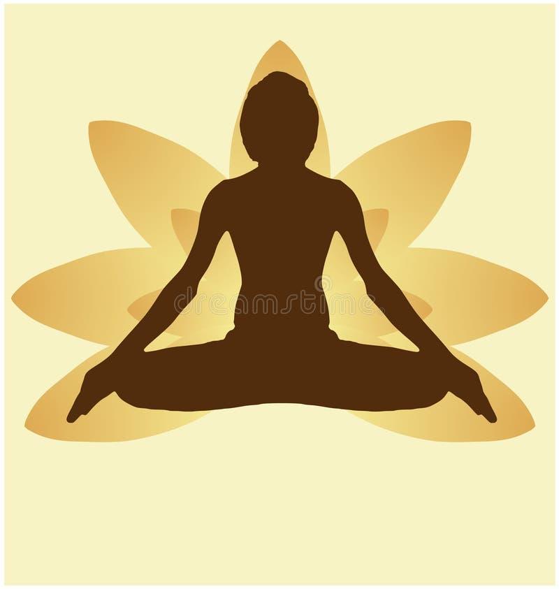 瑜伽天凝思padmasana反对金黄莲花瓣的姿势横幅有在金黄Backg的美好的梯度传染媒介设计颜色的 皇族释放例证