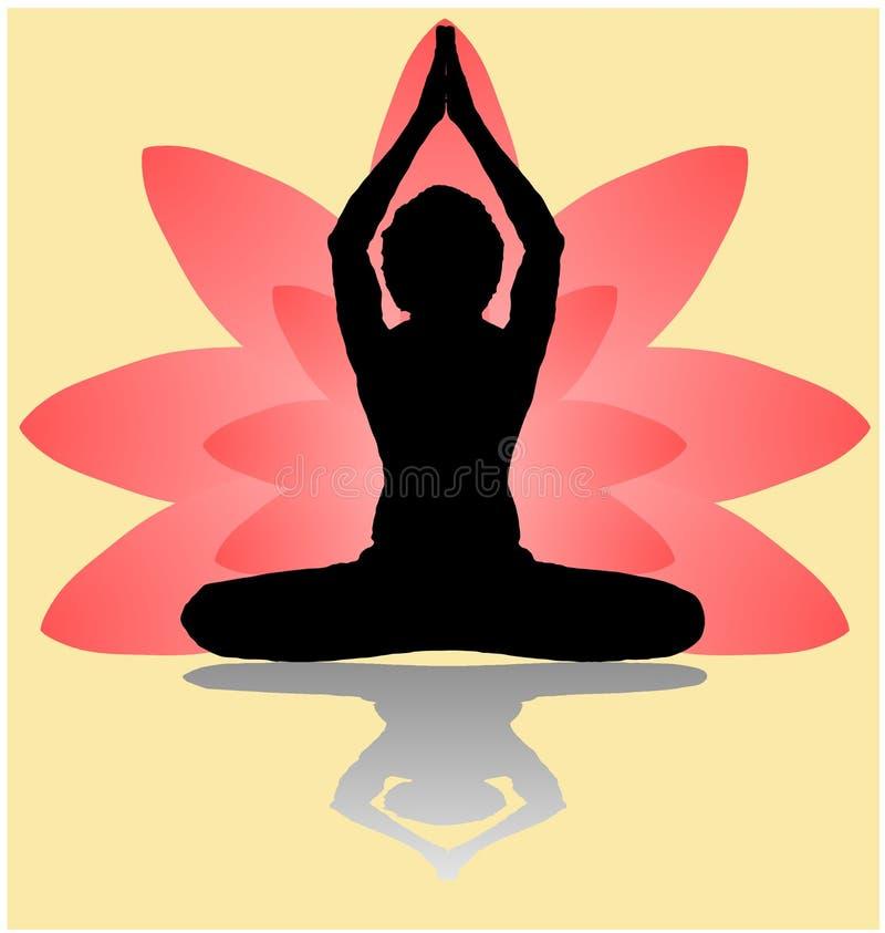 瑜伽天凝思parvastasna反对桃红色莲花瓣的姿势横幅有在金黄后面的美好的梯度传染媒介设计颜色的 库存例证
