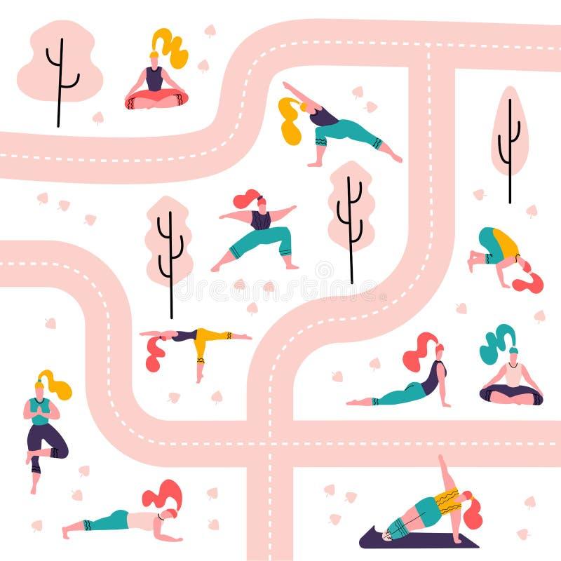 瑜伽女孩在公园无缝的样式白色背景中 做活动和体育的人们室外在道路和树之间 ?? 皇族释放例证