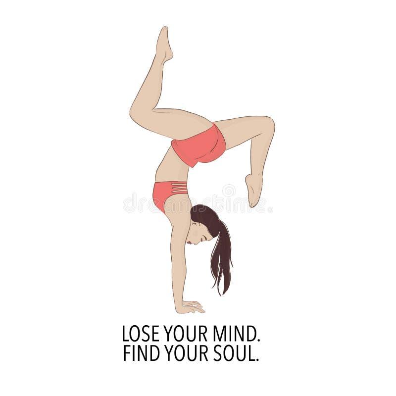 瑜伽女孩平衡锻炼印刷品 人体育放松例证 生活方式体育行情 体育motivatioon文本与 皇族释放例证