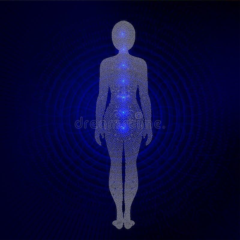 瑜伽妇女被加点的剪影有chakra标志的 向量例证