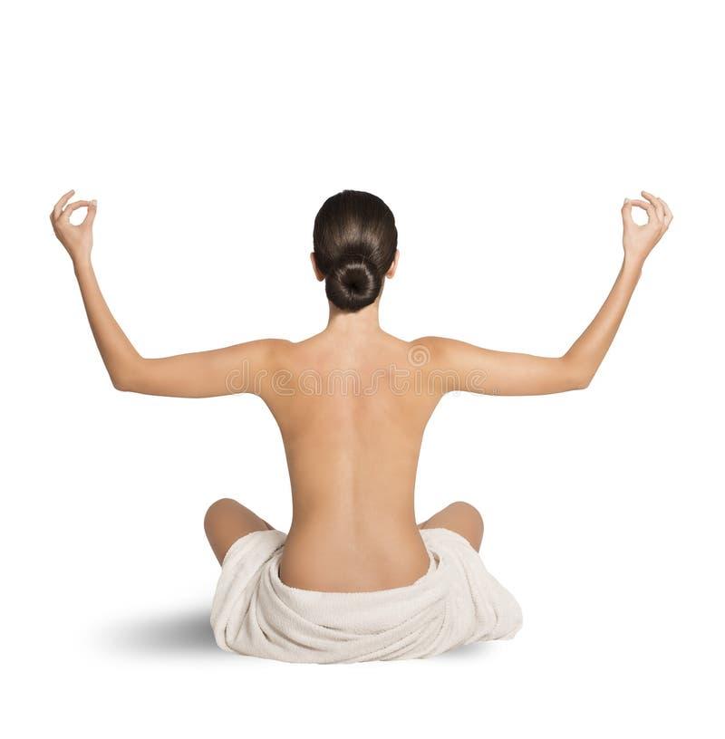 瑜伽妇女 免版税图库摄影
