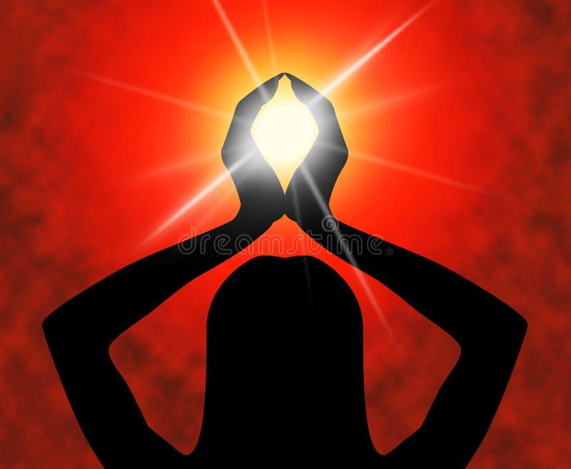 瑜伽姿势手段思考的灵性和凝思 向量例证