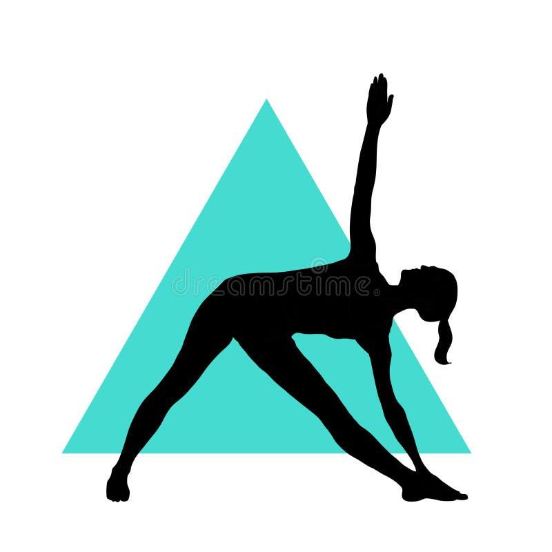 瑜伽姿势的女孩在三角背景 EPS, JPG 向量例证
