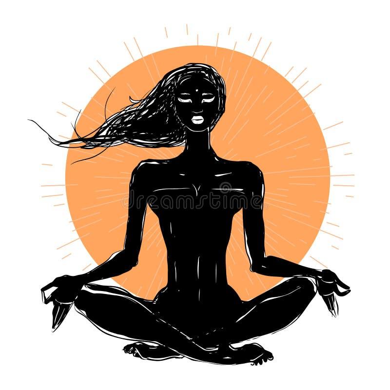 瑜伽姿势的美丽的女孩 皇族释放例证