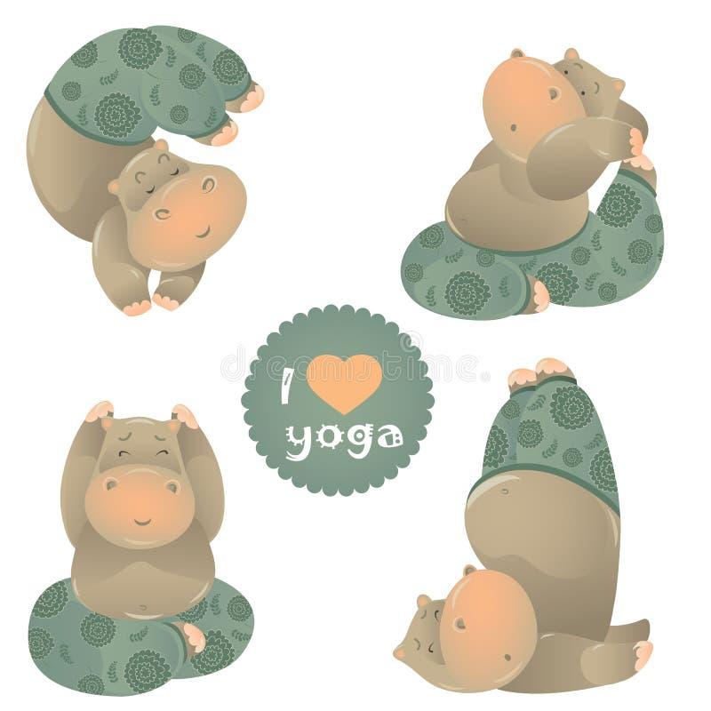 瑜伽姿势的逗人喜爱的动物例证 向量例证