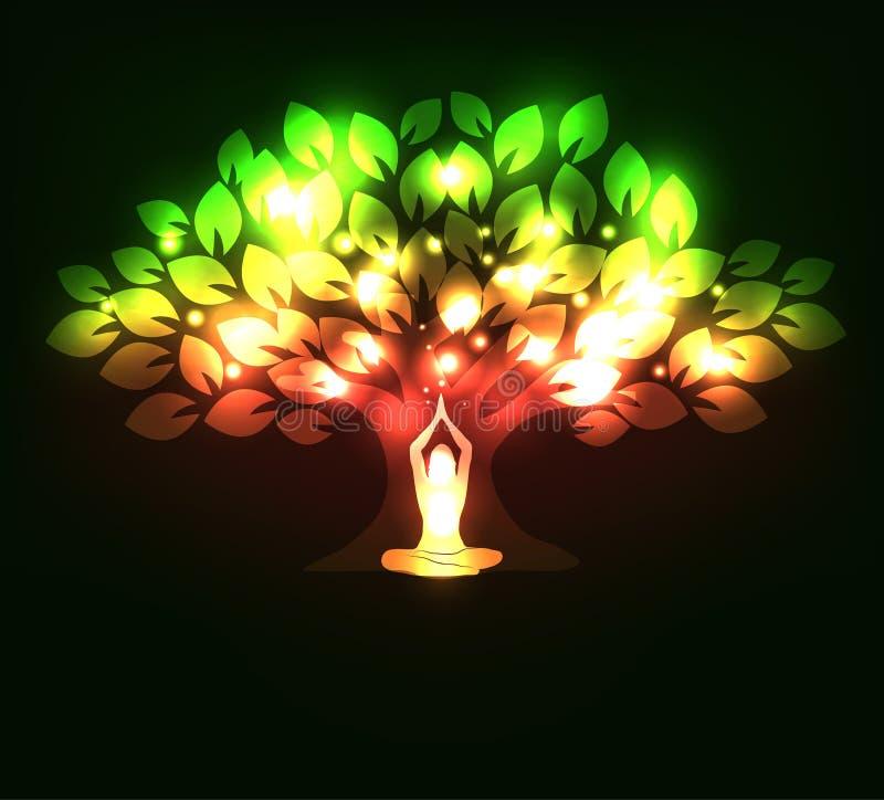 瑜伽姿势的闪耀的结构树和妇女 皇族释放例证