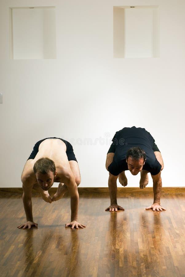 瑜伽姿势的-垂直二个人 库存图片