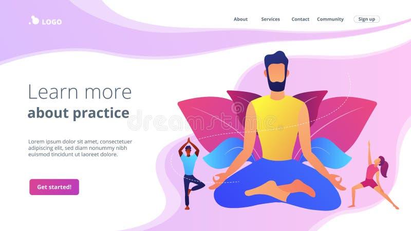 瑜伽学校概念着陆页 库存例证